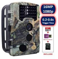 "SOVACAM Trail Camera,16MP 1080P 2.4"" LCD HD Deer Hunting Camera 46pcs 850nm Low-Glow IR LEDs 120° PIR Sensors,up to 0.2s Trigger Time,up to 65ft Night Vision,IP 56 Waterproof"