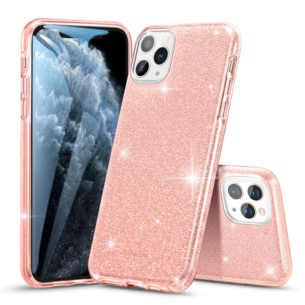 ESR Glitter Case Compatible for iPhone 11 Pro Max Case, Glitter Sparkle Bling Case [Three Layer] for Women [Supports Wireless Charging] for iPhone 11 Pro Max (2019 Release), Coral