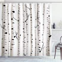 """Ambesonne Birch Tree Shower Curtain, Forest Seasonal Nature Woodland Leafless Branches Grove Botany Illustration, Cloth Fabric Bathroom Decor Set with Hooks, 75"""" Long, Black and White"""