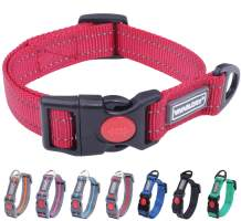 Vivaglory Reflective Dog Collars with Safety Locking Buckle, Soft Nylon Collar Adjustable for Puppy Small Medium and Large Dogs
