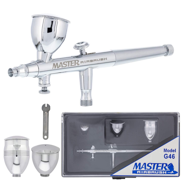 Master Airbrush Model G46 Multi-Purpose Dual-Action Airbrush, 0.3 mm Tip, 3 Sizes of Gravity Feed Fluid Cups, Micro Airflow Valve - User Friendly, Versatile Set Kit - Auto Graphics, Art, Hobby, Cake