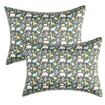 IBraFashion Kids Toddler Pillowcases 2 Packs 100% Cotton 14x19 Fits Toddler Crib Bedding Pillow 14x19, 13x18 Small Pillow (Animals in The Jungle)