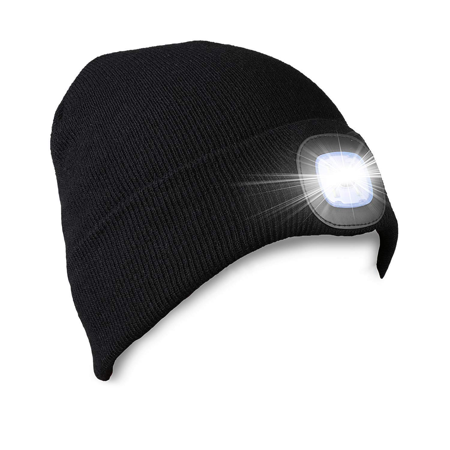 TANGCISON LED Beanie Hat with Light   USB Rechargeable Light Up Hat with Adjustable Brightness   Ultra Soft Material Keeps You Warm and Cozy   Find Your Way in The Dark and be Noticed by Vehicles