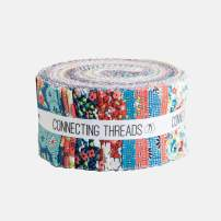 """Connecting Threads Print Collection Precut Cotton Quilting Fabric Bundle 2.5"""" Strips (Annie's Apron)"""