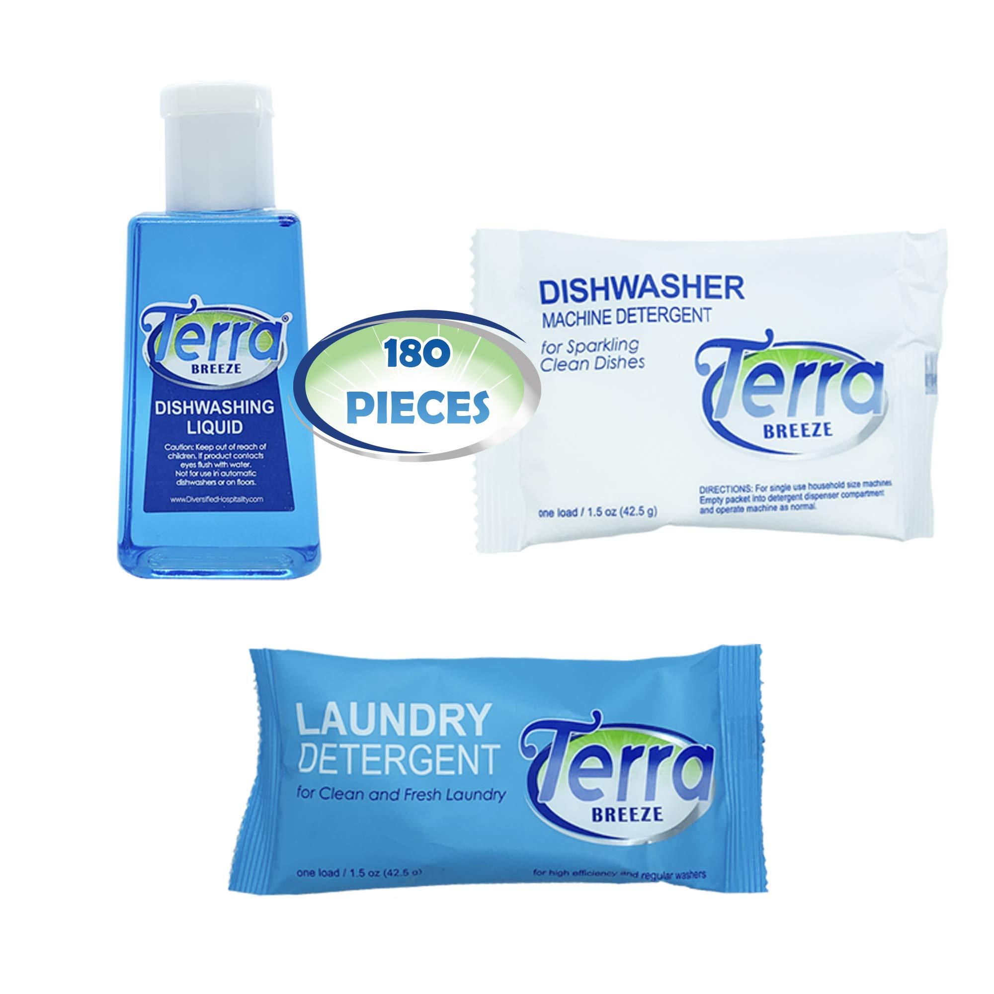 Travel Laundry Detergent & Dish Soap | Terra Breeze 1-Shoppe All-In-Kit Bulk Hotel Size Amenities for AirBnB & Rentals | Dishwashing Liquid, Dishwasher Detergent & Premeasured Laundry Soap | 180 Pcs