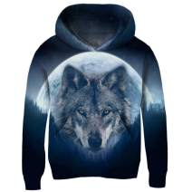 uideazone Boys Girls 3D Print Graphic Sweatshirts Long Sleeve Cotton Pullover Hoodies with Pocket 3-16Y