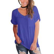 YS.DAMAI Women's T Shirts V Neck Short Sleeve Casual Loose Plain Summer Basic Tee Tops with Front Pocket