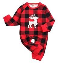 Christmas Outfit Newborn Baby Boys Girls Deer Long Sleeve Romper Jumpsuit Red Plaid Bodysuit Clothing