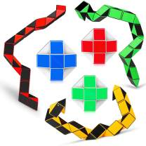 Ganowo 6PCS Big Size Snake Cube Fidget Puzzle Toy Brain Teaser Game for Kids Teens Stocking Stuffers Party Favors Goodie Bags Fillers