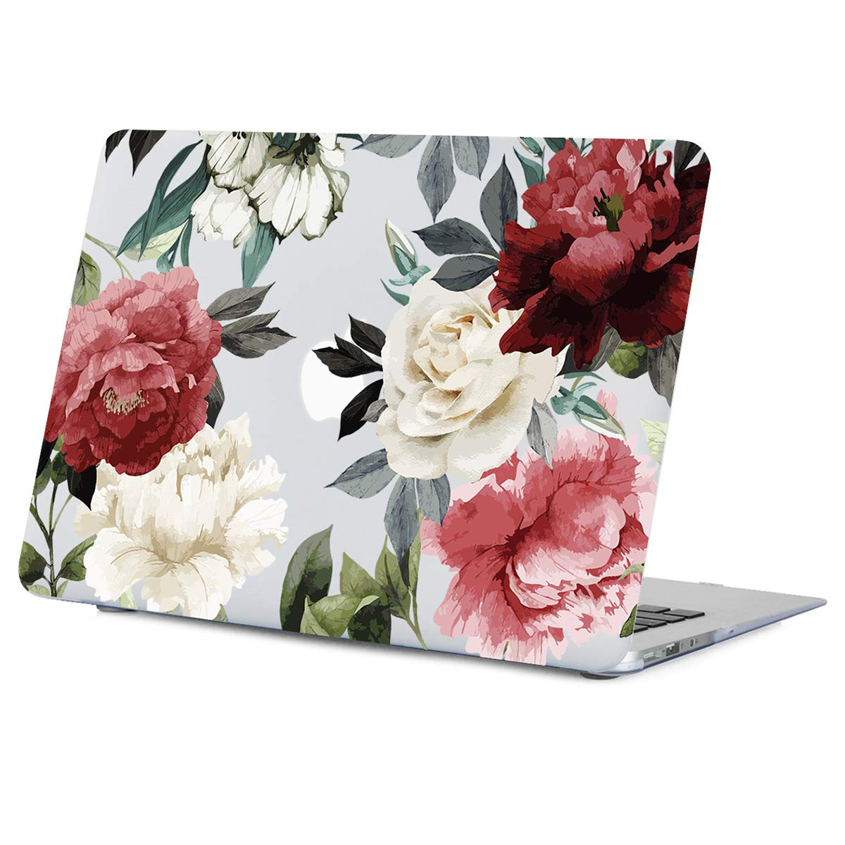 MacBook Air 13.3 Inch Case Old Version, Vintage Peony Flower MacBook Air 13.3 inch Clear Case, Soft-Touch Hard Shell Case with Keyboard Cover Model:A1466 A1369 2010-2017