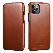 ICARER iPhone 11 Pro Leather Case,Genuine Leather Flip Folio Opening Cover in Curved Edge Design, Slim Thin Side Open Case for iPhone Pro 11 5.8 Inch (Brown)