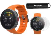 Polar Vantage V Pro (Orange) Power Bundle with PlayBetter Portable Charger & HD Screen Protectors (4-Pack) | GPS & Barometer | Heart Rate, Multisport Watch