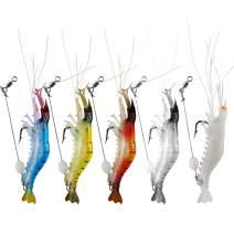 WANBY Luminous Silicone Soft Shrimp Lures Bait Set Kit Swimbait Fishing Lures with Hook Fishing Tackle for Freshwater Saltwater