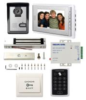 """1 Unit 7"""" LCD Monitor Wired Video Door Phone Intercom Doorbell System Kit PIN Access Controller Magnetic Lock Power Supply Exit Buton"""
