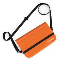 Gonex RFID Blocking Passport Holder Travel Wallet, Water Repellent Polyester Document Organizer, YKK Zipper Case with Removable Shoulder Strap for Men and Women, Orange
