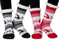 2 Pack Womens Winter Slipper Socks Fuzzy Cozy Socks Christmas Gift Fleece Lined with Grippers