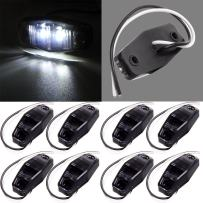 cciyu Side Marker Light 8pcs LED Light Smoke Cover Surface Mount Universal Replacement fit for Trailer White 12V