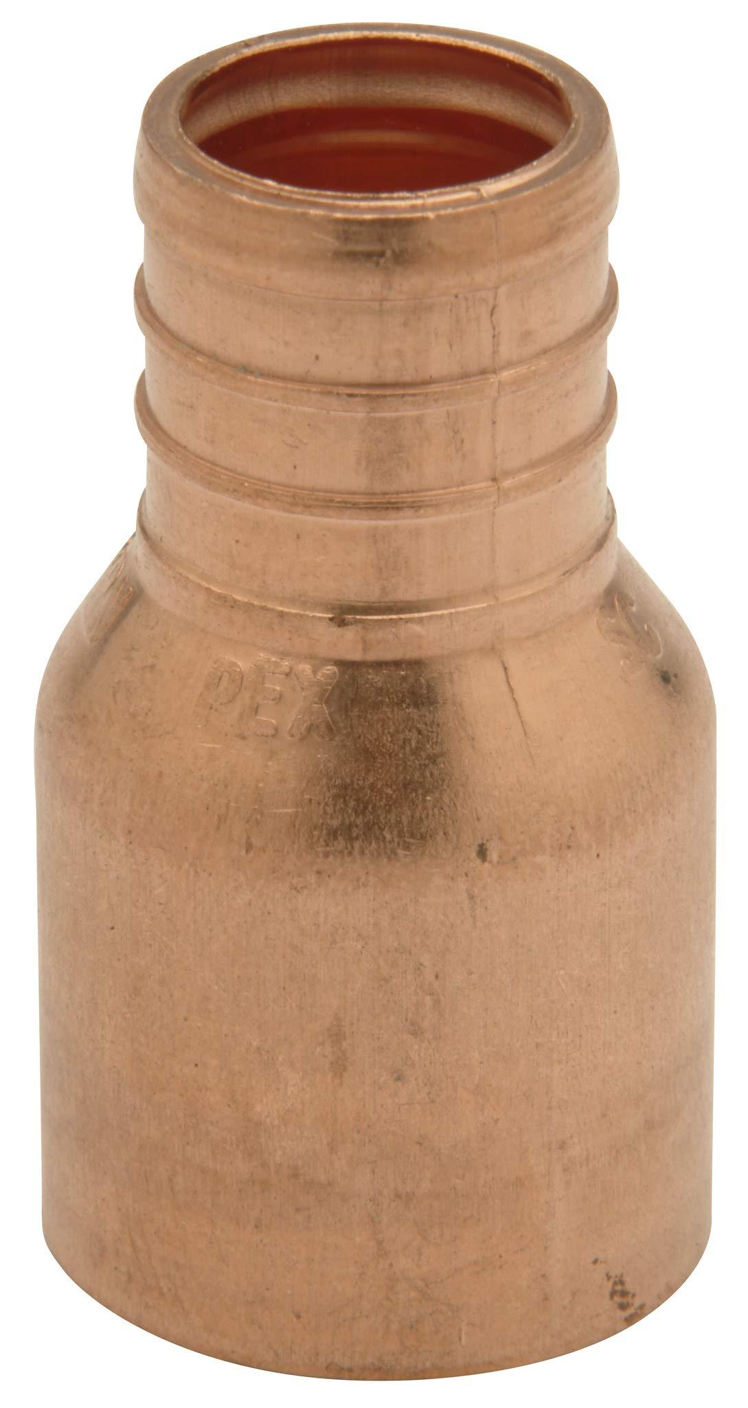 """Zurn QQ775CX Crimp Female Sweat Adapter, Small Diameter, 3/4"""" Female Sweat x 3/4"""" Barb, Copper (Pack of 50)"""