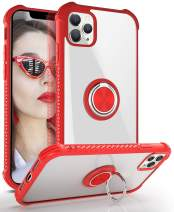 DAUPIN iPhone 11 Pro Max Case, iPhone 11 Pro Max Clear Case with 360 Rotatable Ring Kickstand Metal Car Mount Hard PC Air Cushion Protective Soft TPU Bumper Phone Cover for iPhone 11 Pro Max (Red)