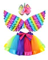 JiaDuo Girls Rainbow Tutu Skirt with Unicorn Wing & Hair Bow Outfit for Party