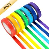 Colored Masking Tapes, 7PCS Arts Rainbow Labelling Masking Tape Fun Supplies Kit for Kids and Adults, Painters Tapes for Crafts, School Projects, Party Decorations and More (0.4 Inch, 12 yd)
