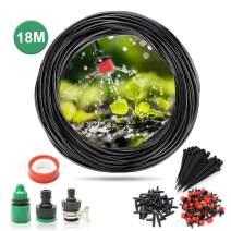 SAFETYON Drip Irrigation Kits, Garden Watering Sprinkler System with Adjustable Nozzle Automatic Dripper Irrigation Kit Accessories for Garden, Greenhouse,Lawn,Patio 15m/18m