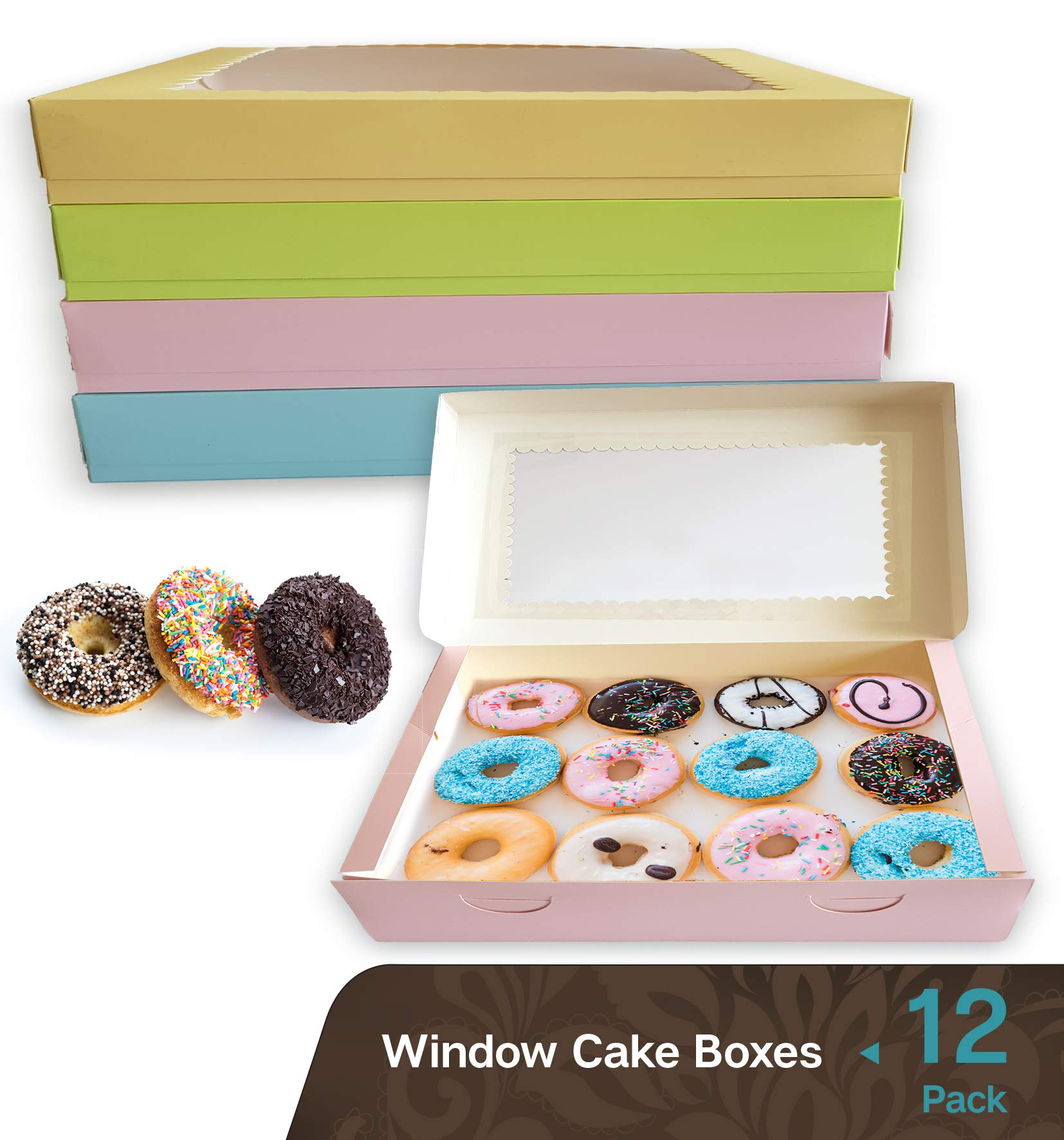 Cookeezz Couture - Donuts Boxes - Cake Boxes 16 x 12 x 2.25 Inch Heavy Duty Window Donuts Boxes Great for Bakery, Pies, Cakes, Cupcake - 12 Pack Cake Boxes at Assorted 4 Pastel Colors.