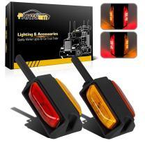 "Partsam 2x 4"" LED Clearance Trailer Fender Lights Amber Front Red Back 4 Diodes RH/LH"