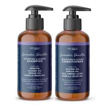Aquableu Natural Lavender Vanilla Shampoo & Conditioner Set - Gentle Ultra Calming Multitasking Cleanser - Nourishing & Restorative - Jojoba Oil - Sulfate & Paraben Free - For color treated hair 16 oz