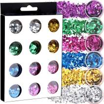 12 Boxes Body Glitter for Rave Festival, LEOBRO 6 Colors Holographic Chunky Glitter, Cruelty-Free Cosmetic Glitter for Body, Eyeshadow, Face, Nail, Hair, Slime, about 5 g/box