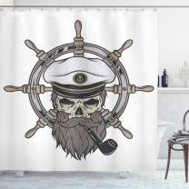 """Ambesonne Skull Shower Curtain, Captain Pirate in Sailor Hat Beard and Nautical Theme Print Nautical, Cloth Fabric Bathroom Decor Set with Hooks, 70"""" Long, White Brown Grey"""