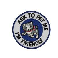 Ask To Pet Me I'm Friendly Patch Guide Dog Service Animal Embroidered Iron On