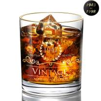 1947 73th Birthday/Anniversary Gift for Men/Dad/Son, Vintage Unfading 24K Gold Hand Crafted Old Fashioned Whiskey Glasses, Perfect for Gift and Home Use - 10 oz Bourbon Scotch, Party Decorations