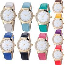 Yunanwa 10 Pack Wholesale Women Watches Leather Rhinestone Inlaid Quartz Jelly Dress Wristwatch (10pcs-Leather Brand)