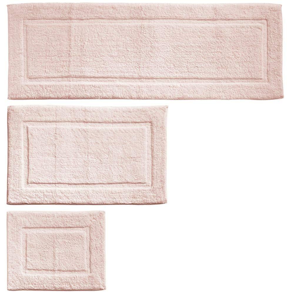 mDesign 100% Cotton Luxury Spa Mat Rugs, Plush Water Absorbent, Decorative Border - for Bathroom Vanity, Bathtub/Shower, Machine Washable - Runner, Standard & Small Rug - Set of 3 - Blush Pink