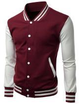 Xpril Men's Stylish Color Contrast Long Sleeves Varsity Jacket