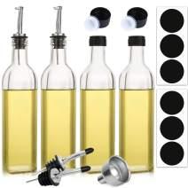 Aozita 4-Pack 17oz Glass Olive Oil Dispenser Bottle - 500ml Clear -Oil & Vinegar Cruet with Pourers and Funnel - Olive Oil Carafe Decanter for Kitchen