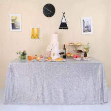 GFCC Glitter Silver Sequin Tablecloth for Party Wedding Banquet 60x120 inch Sparkly Rectangle Table Cloth Cake Table Cover Linen