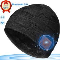 Bluetooth Beanie, Upgraded V5.0 Bluetooth Headphones Hat Built-in Microphone