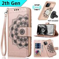 CASEOWL Wallet Case for iPhone 11 Pro 2019, Mandala Embossed Leather iPhone 11 Pro Wallet Case Magnetic Detachable Slim Case Fit Car Mount,with Card Holder,RFID Protection,Kick Stand,Strap-Rose Gold