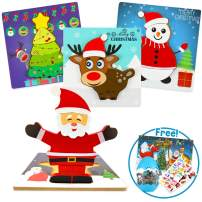 4 Pcs X-Mas Wooden Jigsaw Puzzles for Kids Ages 2-4, Best Montesorri Educational Learning Activity for 2 3 4 Years Olds, Beginner Toddler Puzzles for Preschool with Greeting Cards