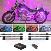 """LEDGlow 6pc Million Color Flexible Motorcycle LED Lighting Kit - 15 Solid Colors - 9 Patterns - 6"""" Multi-Color Tubes - Includes Control Box & Wireless Remote"""
