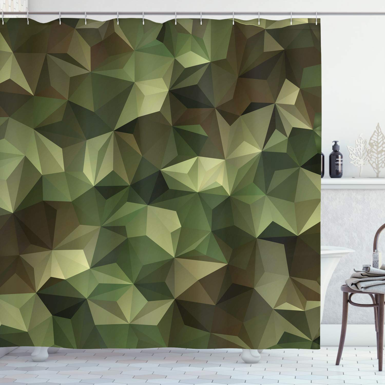 """Ambesonne Geometric Shower Curtain, Abstract Style Composition Camouflage Design Angular Polygon Design, Cloth Fabric Bathroom Decor Set with Hooks, 70"""" Long, Green Brown"""