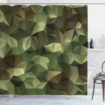 """Ambesonne Geometric Shower Curtain, Abstract Style Composition Camouflage Design Angular Polygon Design, Cloth Fabric Bathroom Decor Set with Hooks, 84"""" Long Extra, Green Brown"""