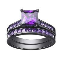 SHELOVES Women Black Gold Plated Wedding Rings Purple Amethyst Princess Cz Engagement Ring Sets 5-12