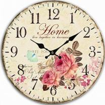 Large Wall Clock, European Vintage Clock with Arabic Numerals, Indoor Silent Battery Operated Wood Clock for Home, Living Room, Bedroom, Kitchen and Den Decor, East to Read - 12 Inch, Home