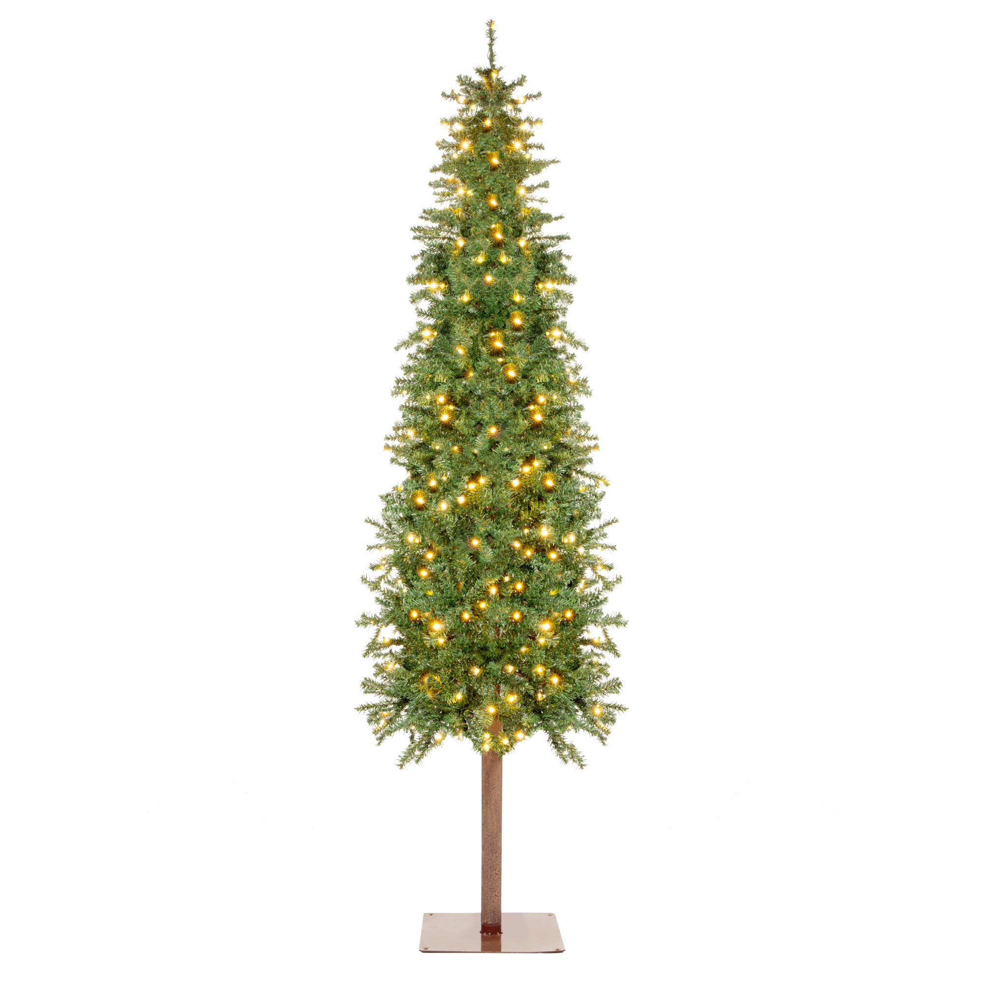 Best Choice Products 7.5ft Pre-Lit Pencil Alpine Christmas Tree Holiday Decoration w/ 350 LED Lights, 975 Tips, Stand