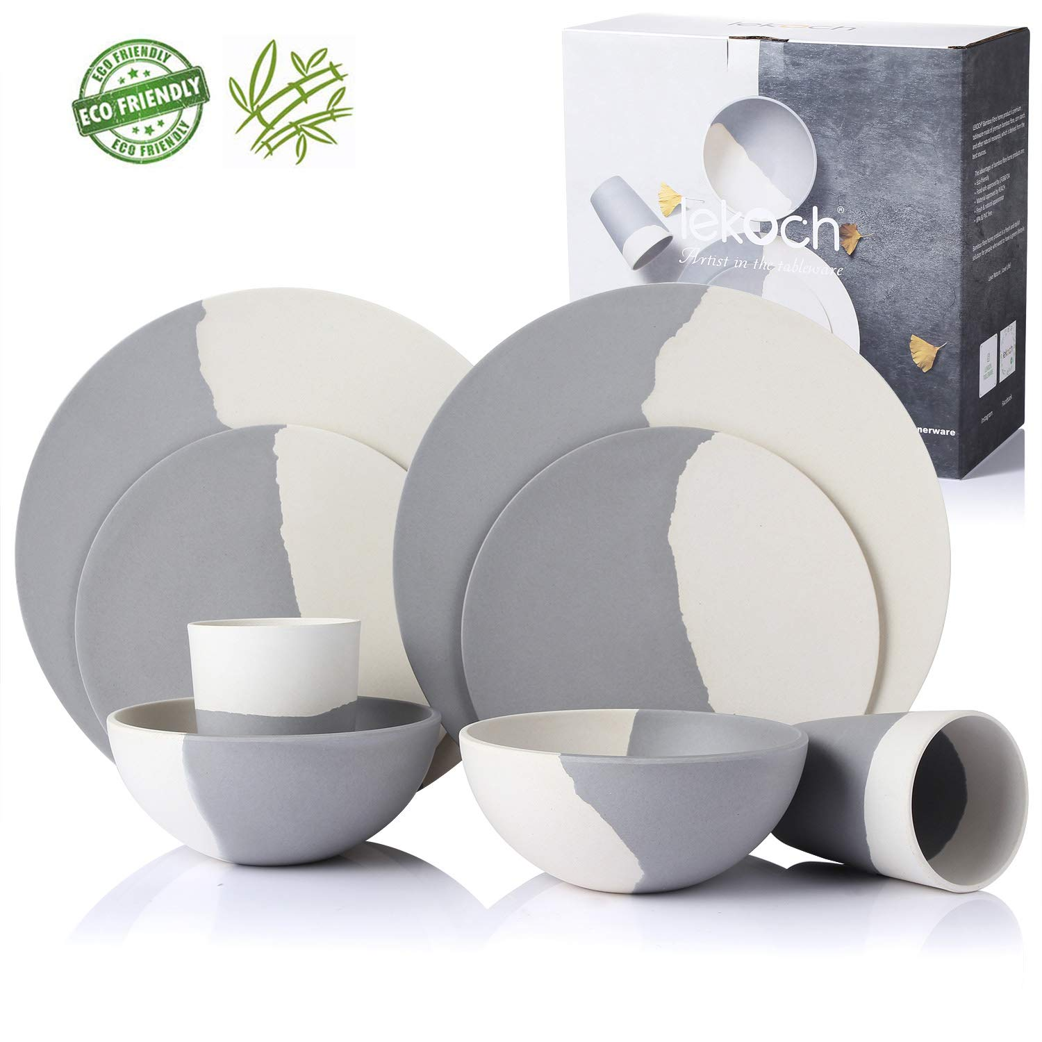 Lekoch 8-Piece Bamboo Dinnerware Set,Eco-friendly Tableware Set for 2 Guests,Bamboo Fiber Plate,Salad Plate,Soup Bowl,Cup for Mother's Day Gift(White & Gray)