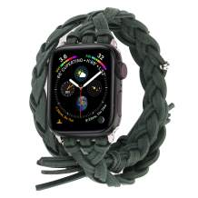 Compatible with Apple Watch Band 38mm 42mm 40mm 44mm, Woven Leather Smart Watch Strap Handmade Double Tour Bracelet Replacement for iWatch Series 5 4 3 2 1 Vintage Band 38mm/40mm, Green
