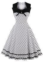 Nihsatin Women's Audrey Hepburn Vintage Style Rockabilly Swing Dress